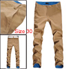 Mens Fashion Casual Slim Fitted Pants Roll up Plaid Trousers Khaki W30
