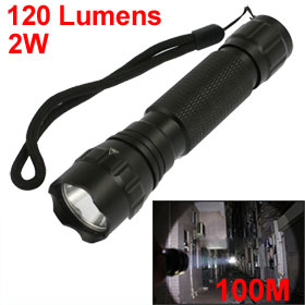 120LM 2W Rechargeable White LED Light Flashlight Torch w Charger