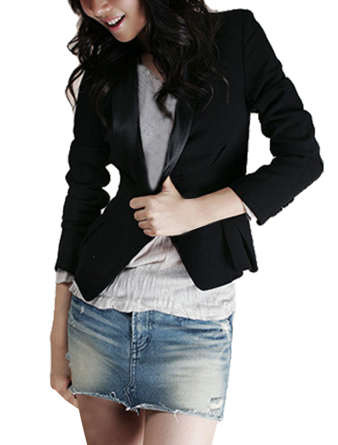 913 M Woman Black Shawl Collar Long Sleeve Buttoned Blazer Coat M
