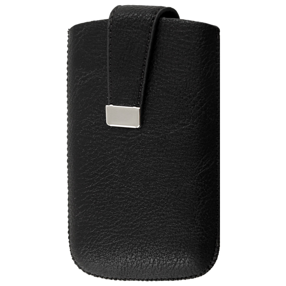 Black Faux Leather Magnetic Flip Pull Up Pouch for iPhone 3G 3GS