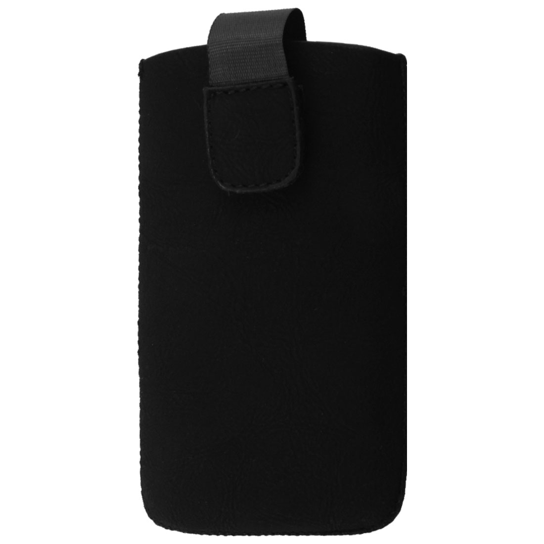 Vertical Black Faux Leather Stitched Hem Pouch for iPhone 4 4G 4S