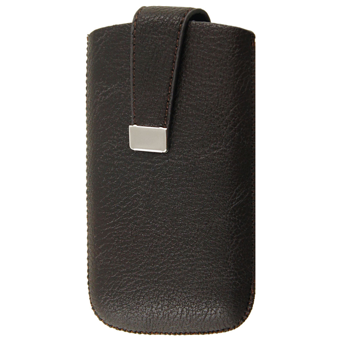 Vertical Coffee Color Faux Leather Magnetic Flip Pull Up Pouch for iPhone 4 4G 4S