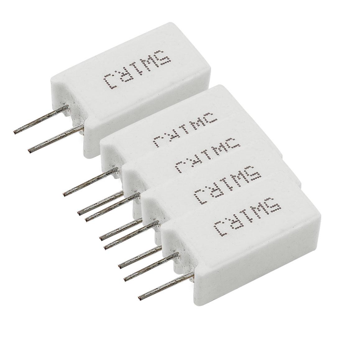 5 Pcs Wirewound Radial Lead Cement Resistors 5% 5W 5 Watt 1 Ohm