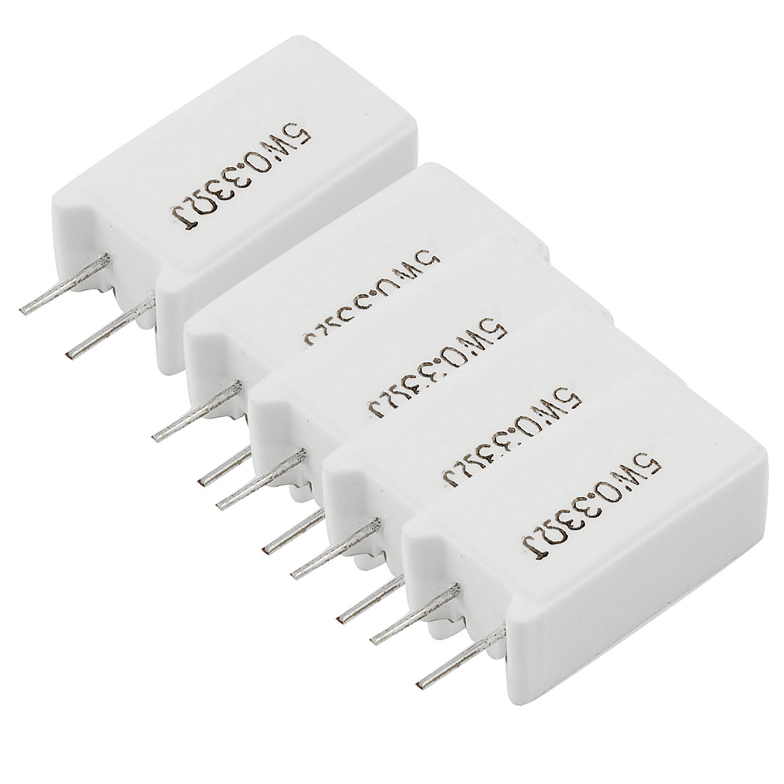 5 x 0.33 Ohm 5 Watt Wirewound Radial Lead Ceramic Cement Resistors White