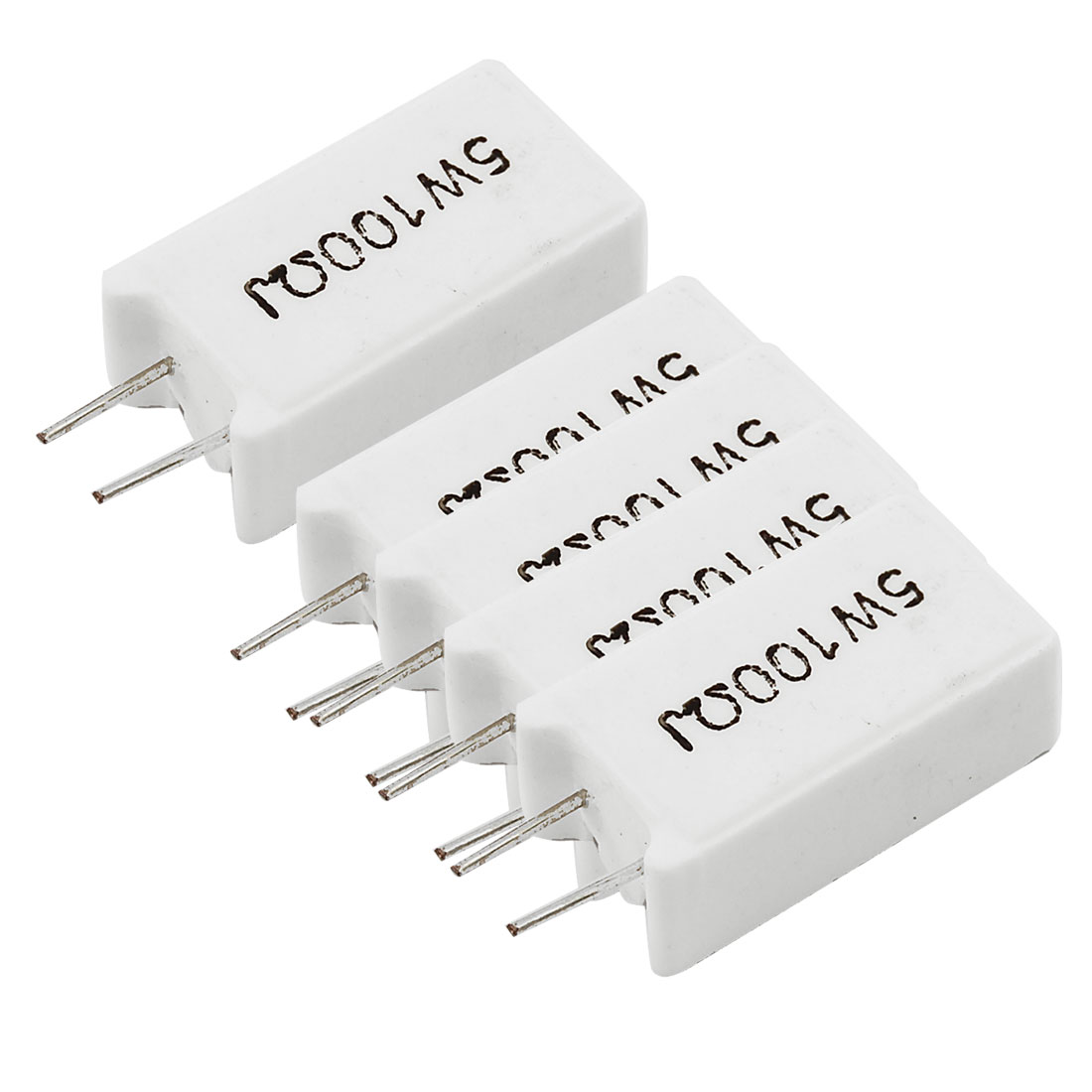 5 Pcs Wirewound Radial Lead Cement Resistors 5% 5W 5 Watt 100 Ohm