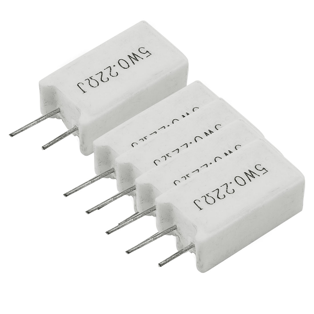 5 x 5W 0.22 Ohm 0.22R 5% Radial Lead Ceramic Cement Power Resistors White