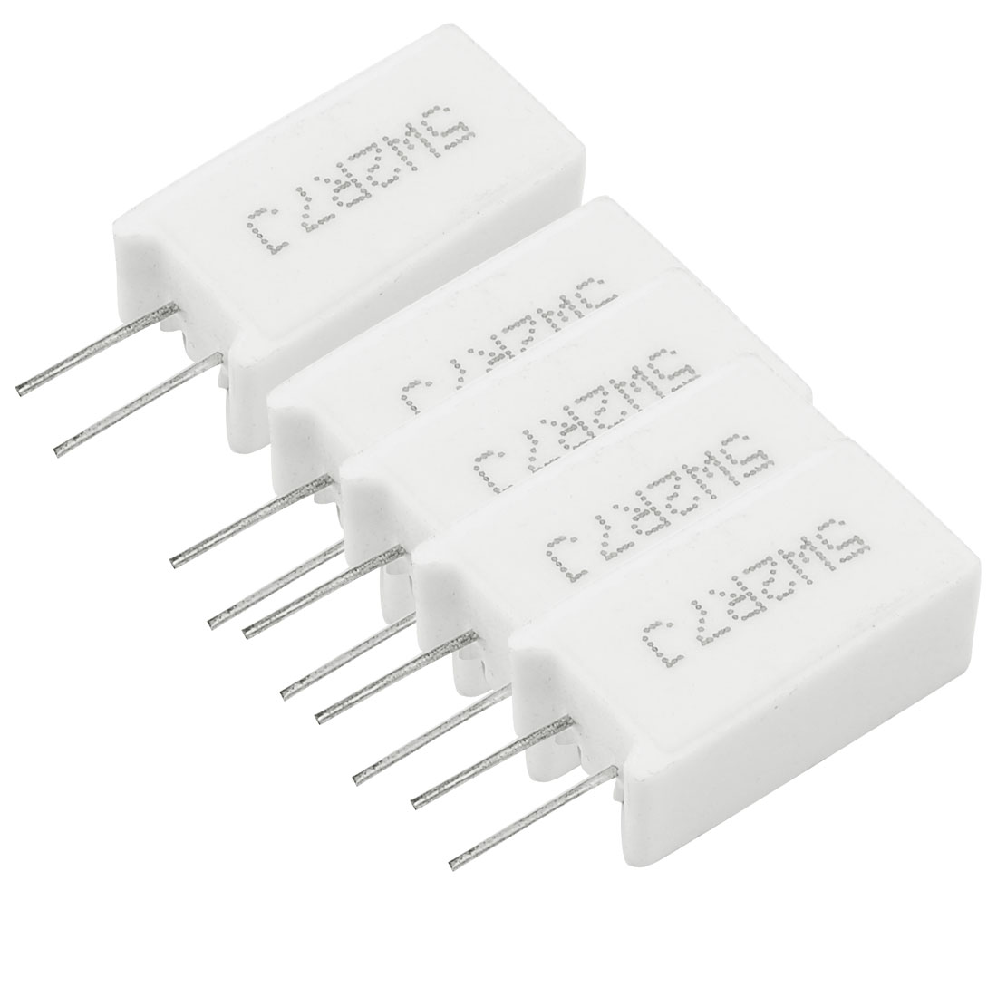 5 x 5W 2.7 Ohm 2.7R 5% Radial Lead Cement Power Resistors White