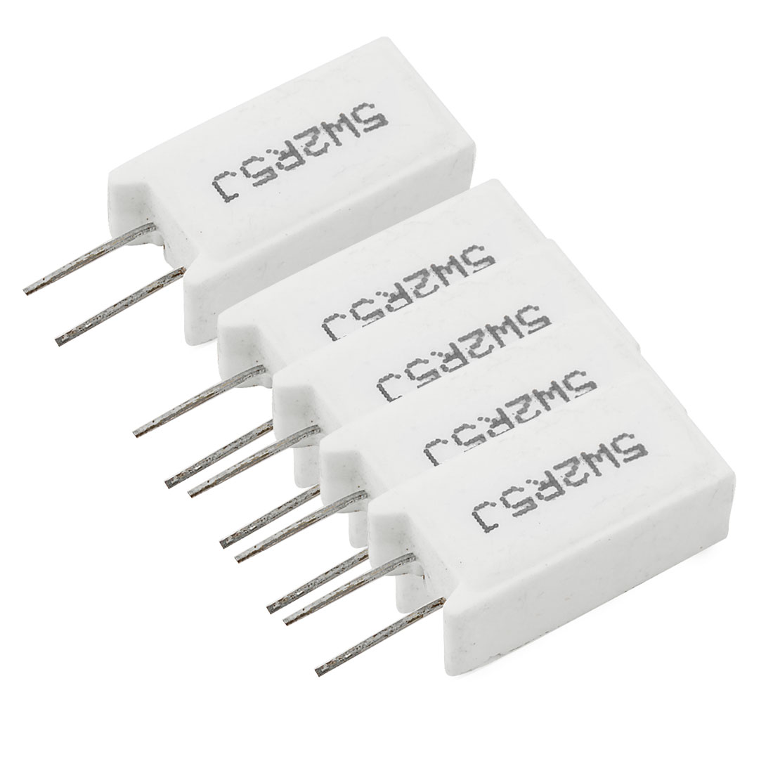 5 x 5W 2.5 Ohm 5% Radial Lead Wirewound Ceramic Cement Power Resistors