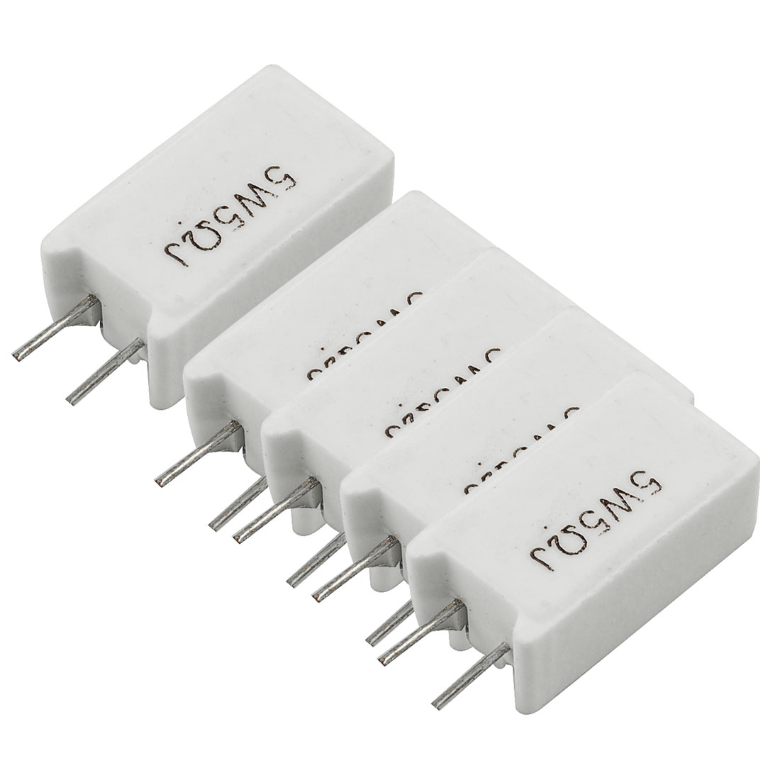 5 x 5W 5 Ohm 5R 5% Radial Lead Wirewound Cement Power Resistors