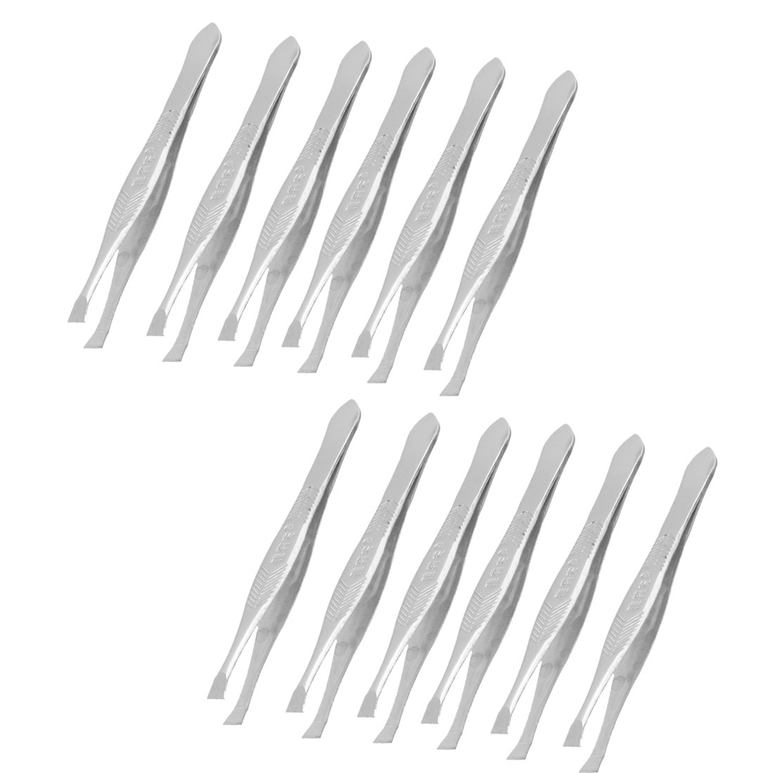12 Pcs Flat Tip Eyebrow Trimmer Tweezers Cosmetic Tool Silver Tone