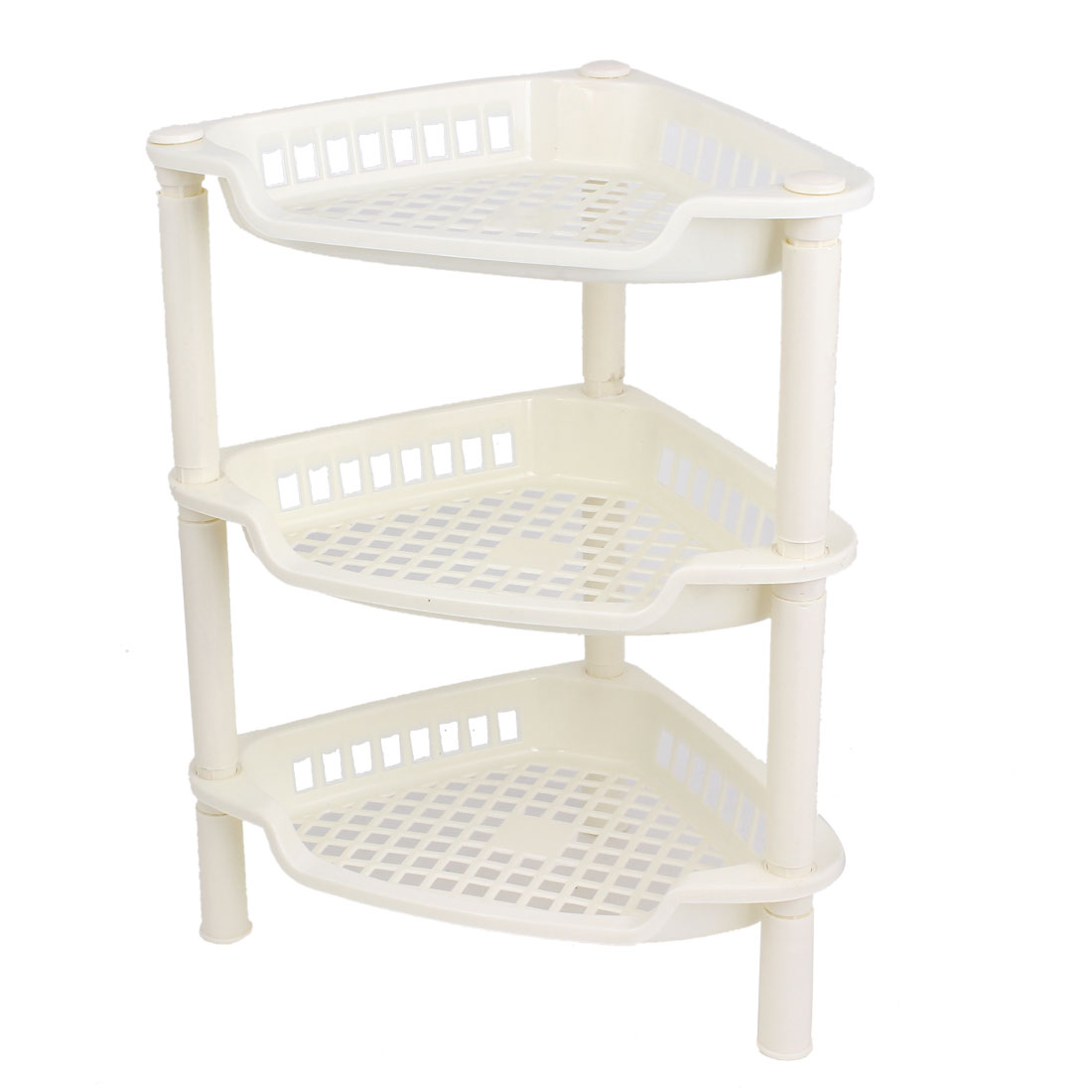 Beige Plastic Mini 3 Layer Shelf Storage Rack Organizer for Home