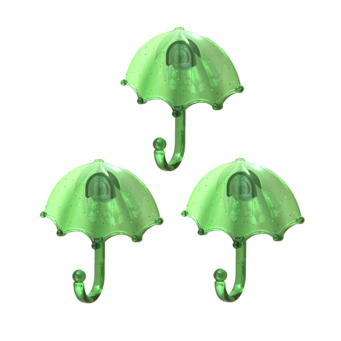 3 Pcs Umberlla Shape Silicone Suction Cup Plastic Hooks Clear Green