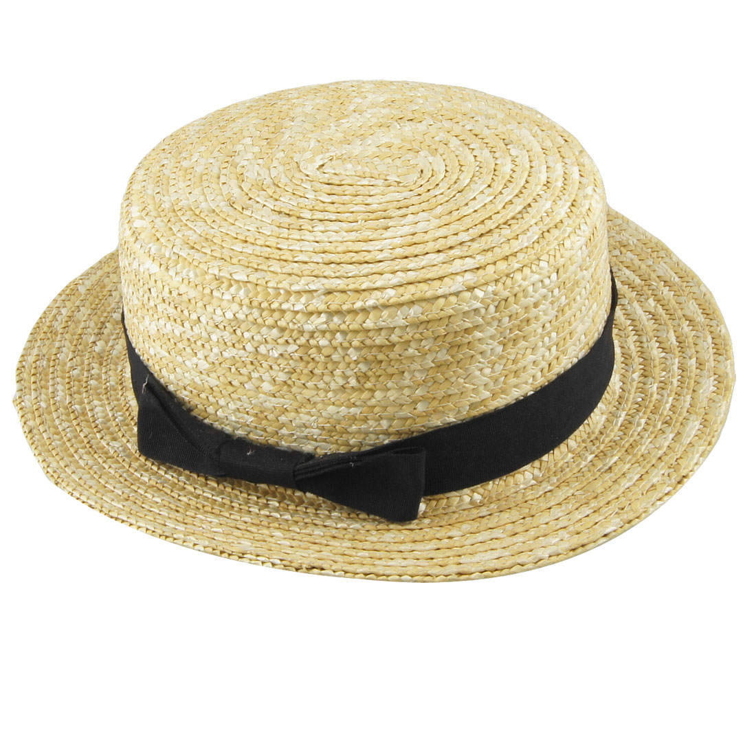 Woman Man Black Bowtie Strap Decor Beige Casual Straw Trilby Hat Cap