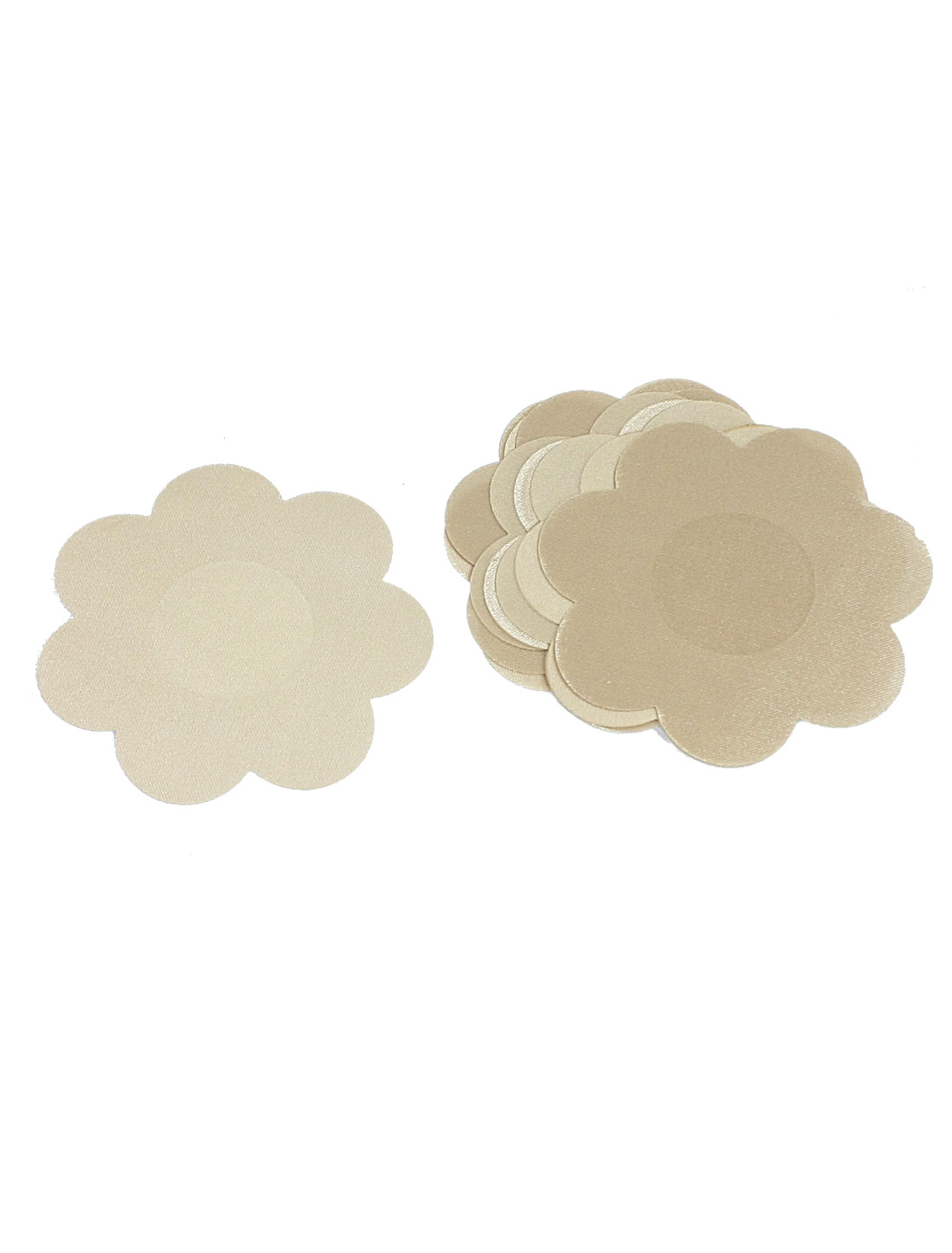 10 Pcs Flower Shaped Beige Polyester Nipple Cover Pad for Ladies