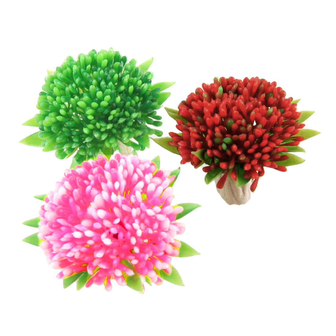 3 Pcs Red Pink Green Floral Aquascaping Plants Decor for Fish Tank