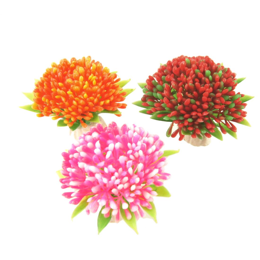 Fish Tank Artificial Red Pink Orange Flower Plants Ornaments 3 Pcs