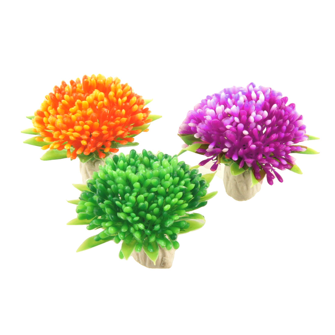 3 Pcs Green Purple Orange Floral Aquascaping Plants Ornament for Aquarium