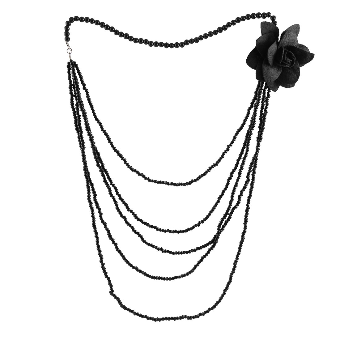 Lady Floral Plastic Bead Decor 5 Layer Sweater Necklace Chain Black