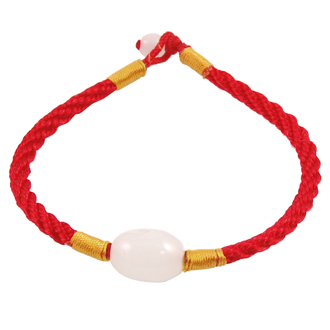 Red Knitted Cord Plastic White Bead Decor Wrist Bracelet