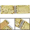 Women Sequins Elastic Cinch Belt Dress Blouse Gold Tone