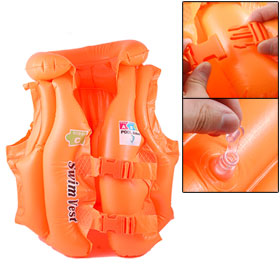 Orange Inflatable Buckle Closure Water Sports Swimming Life Jacket Vest