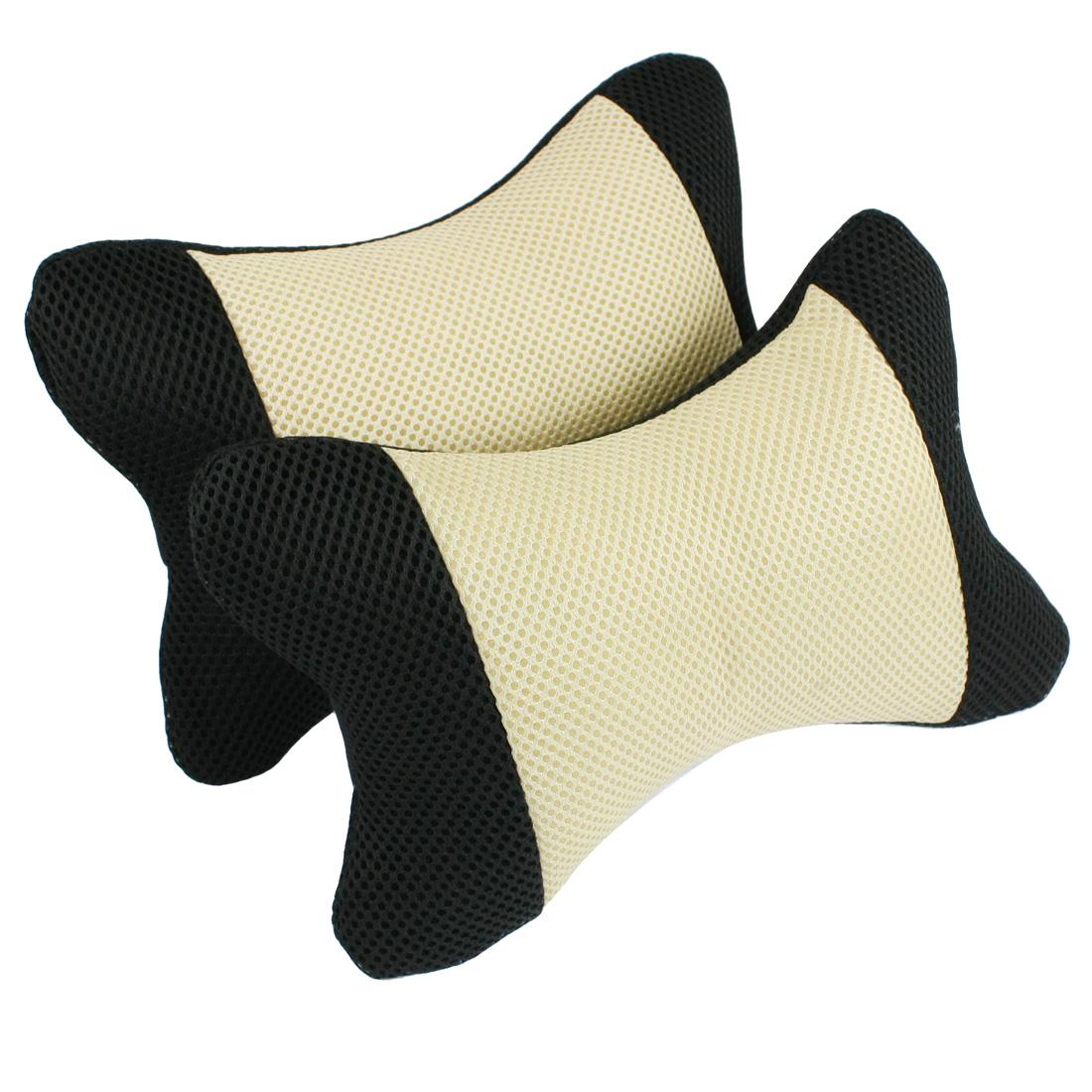 2 Pcs Black Beige Bone Shaped Head Neck Pillow for Car Auto Vehicle