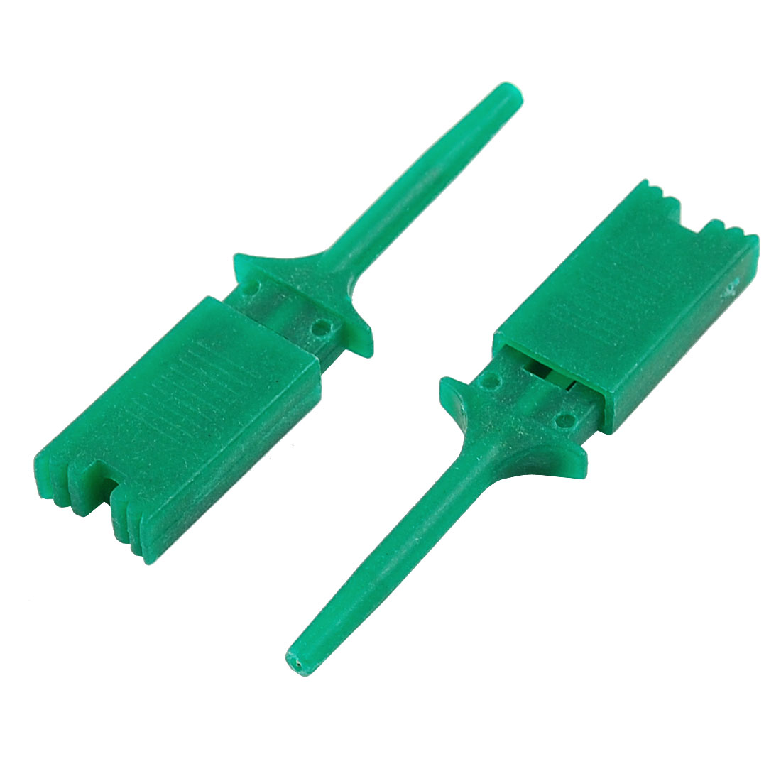 """10 Pcs Green Plastic Multimeter Test Probe Cable SMD IC Hook Clip Grabbers 1.9"""""""