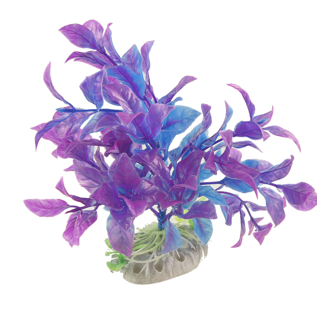 "Aquarium Purple Blue Plastic Aquascaping Plant Decor 6"" w Ceramic Base"