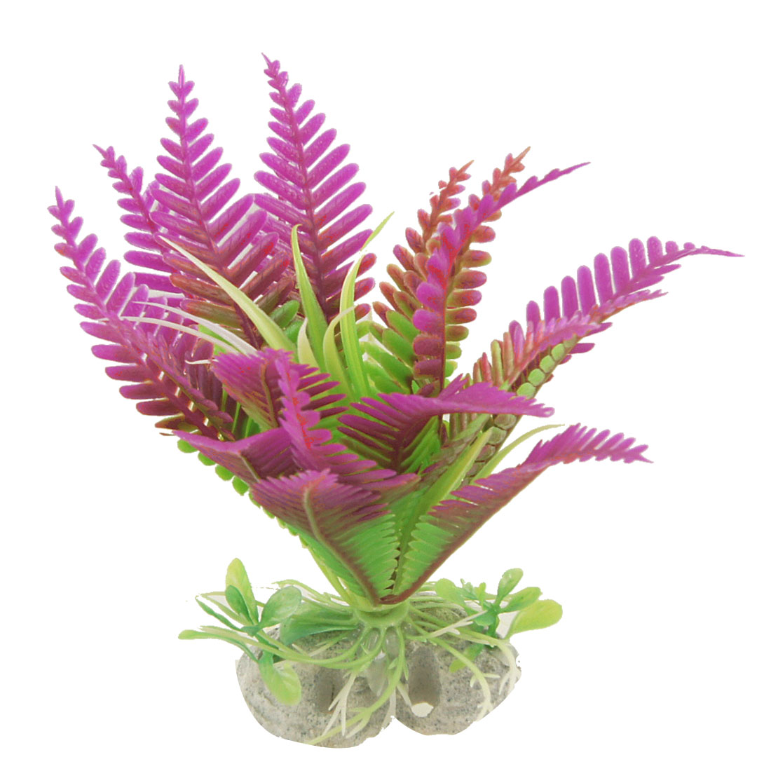 Fish Tank Perforated Base Plastic Aquatic Plants Decor Purple Green 5""