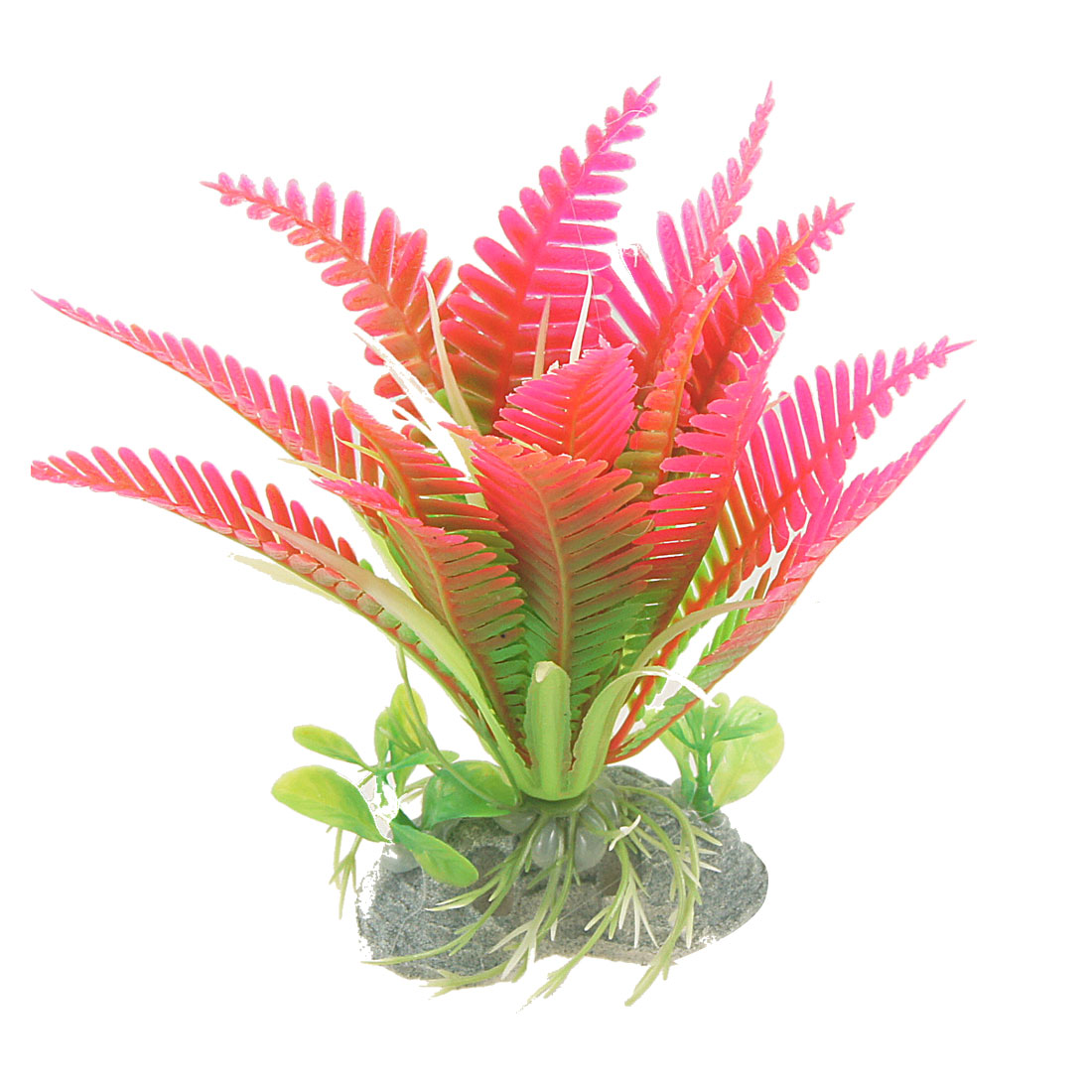 "Fish Tank Hot Pink Green Toothed Leaves Simulated Plant Adorn 5"" High"