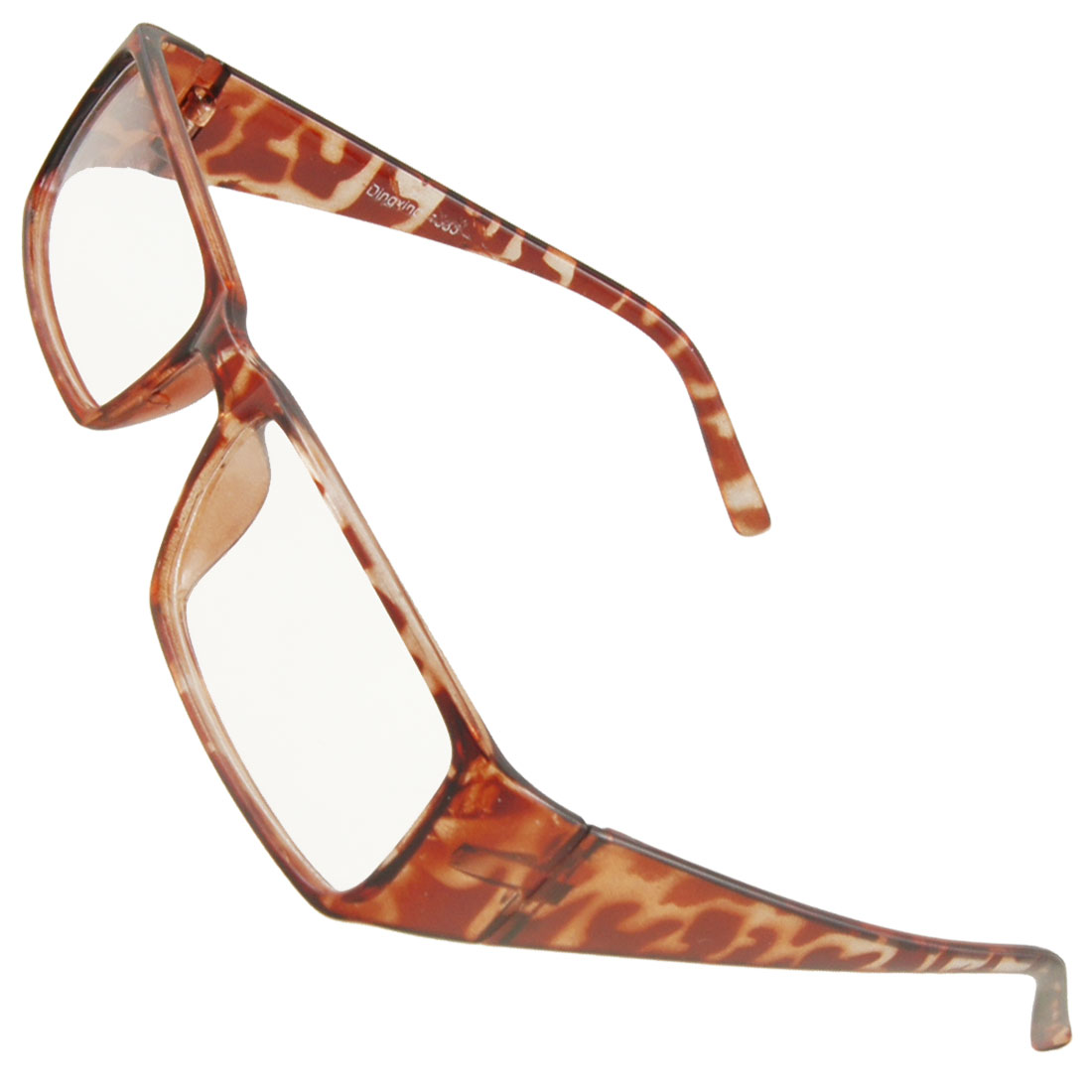Women Brown Leopard Print Plastic Full Frame Clear Lens Plano Glasses