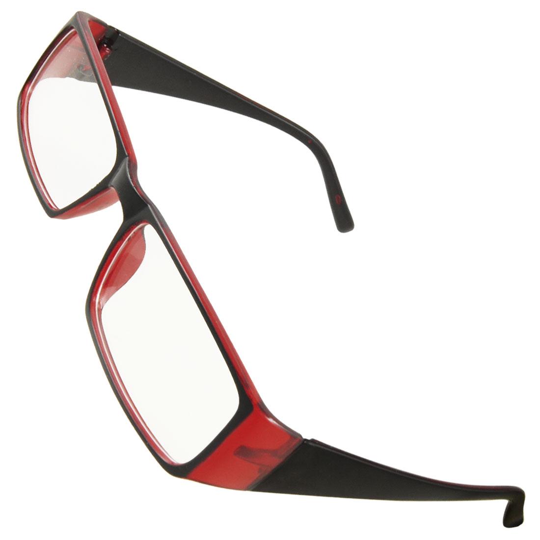 Ladies Black Burgundy Plastic Full Frame Clear Lens Plain Glasses