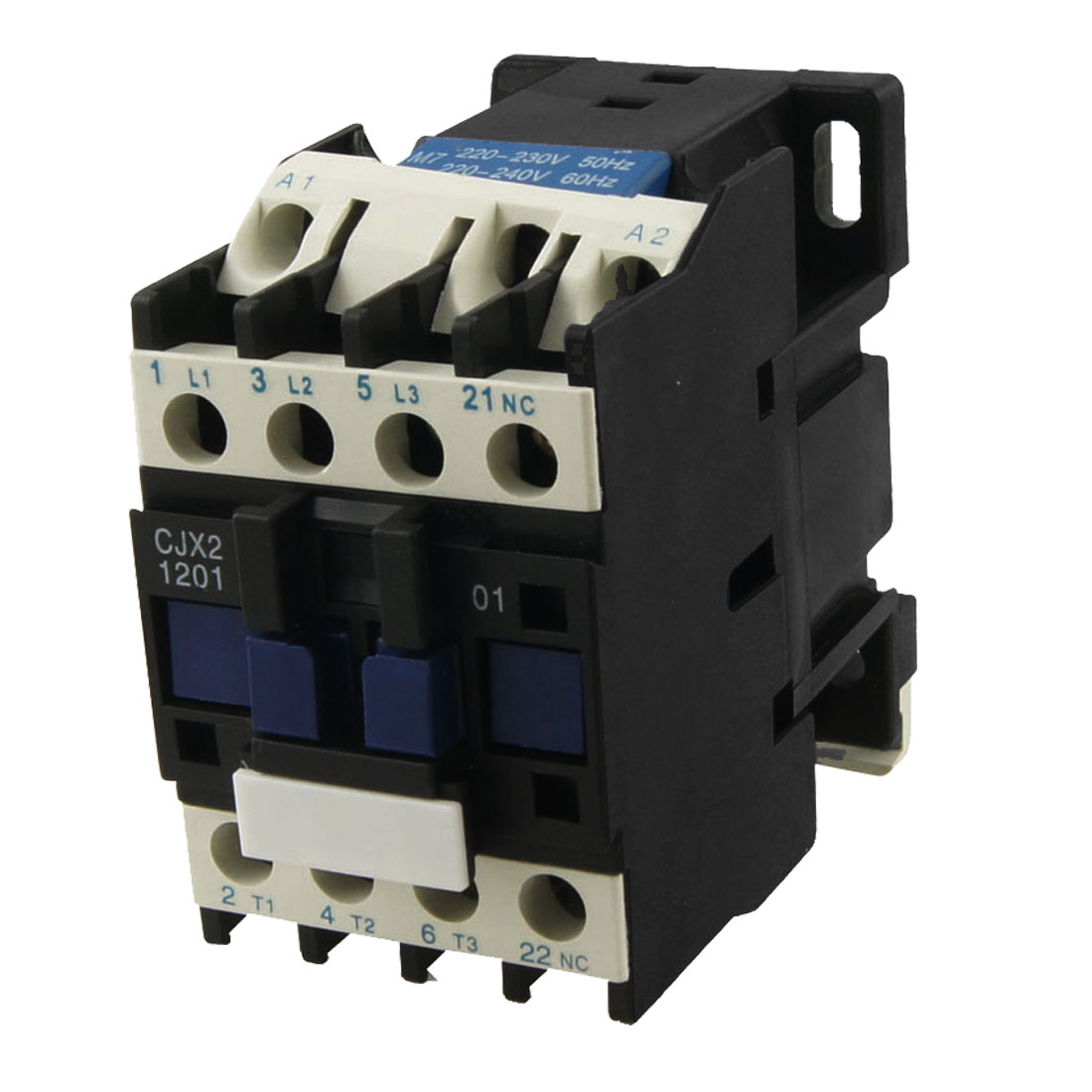 CJX2-1201 DIN Rail Mount AC Contactor 3 Pole One NC 220V Coil 12A