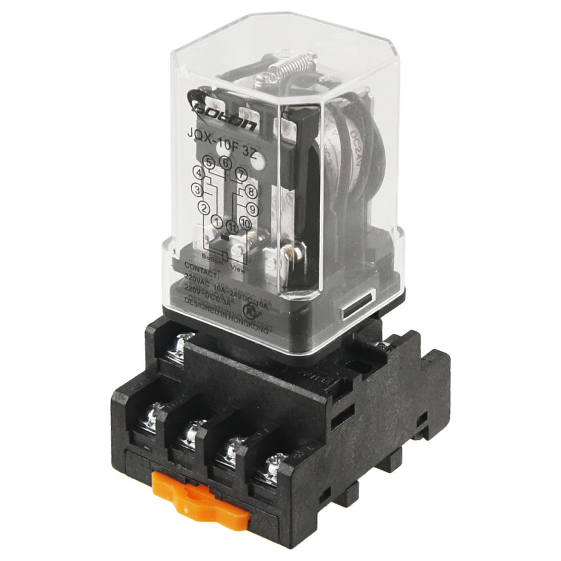 DC 24V Coil Voltage 10A 3PDT Power Relay w Screw Terminal Socket