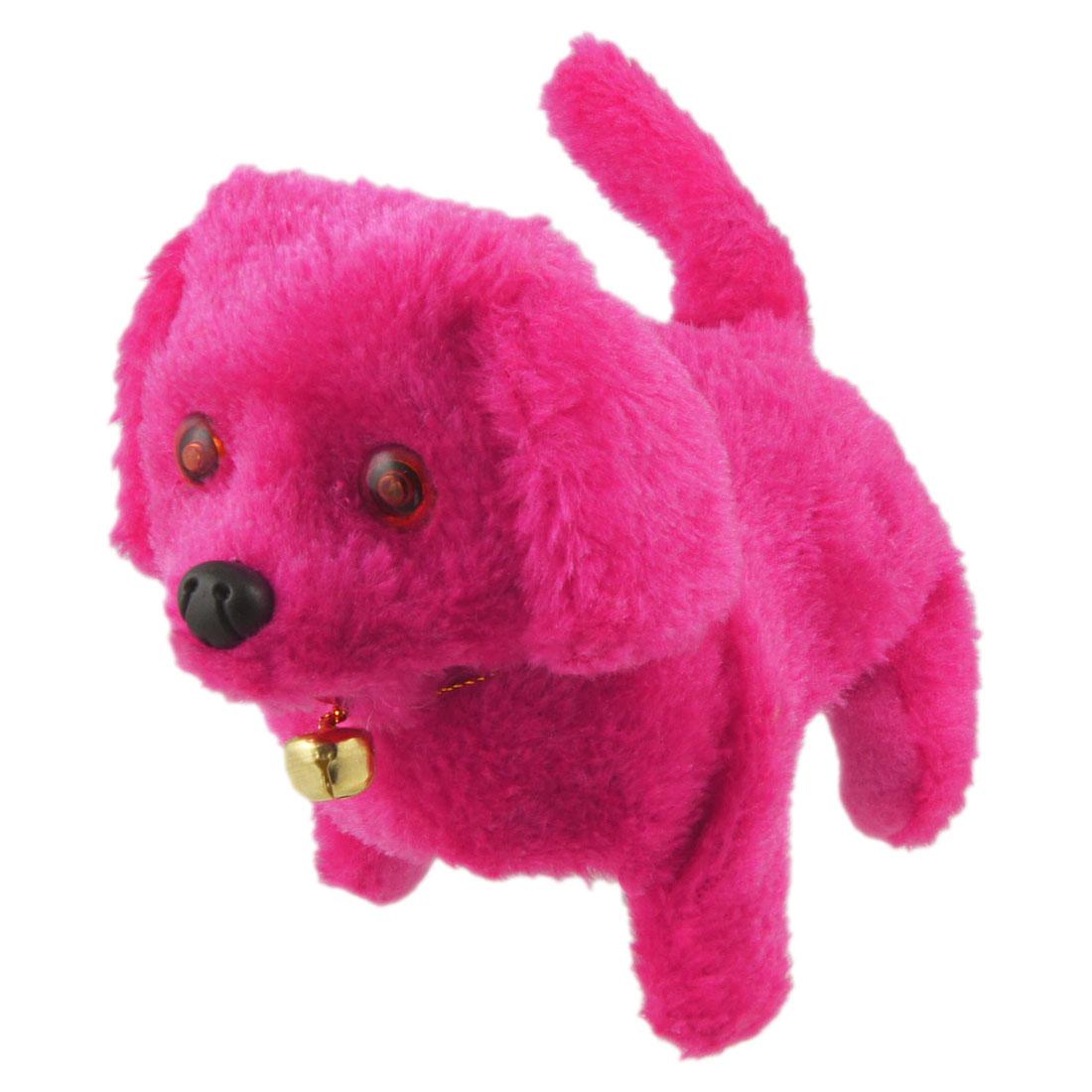 Plush Neck Bell Walking Barking Electronic Dog Toy Fuchsia