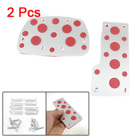 2 Pcs Car Automatic Rubber Nonslip Pedal Pad Cover Silver Tone Red