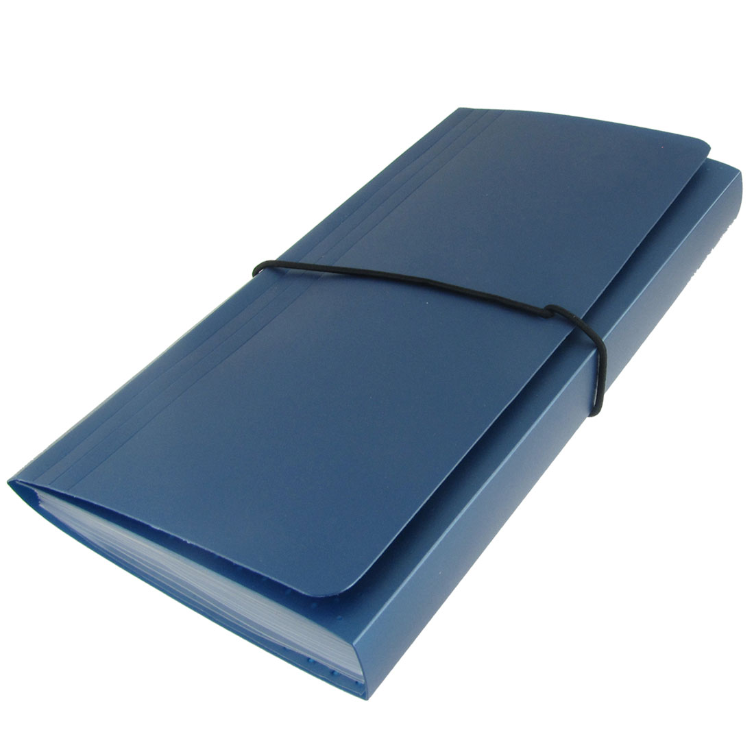 Elastic Strap Closure Rectangle Plastic Blue Cover File Folder