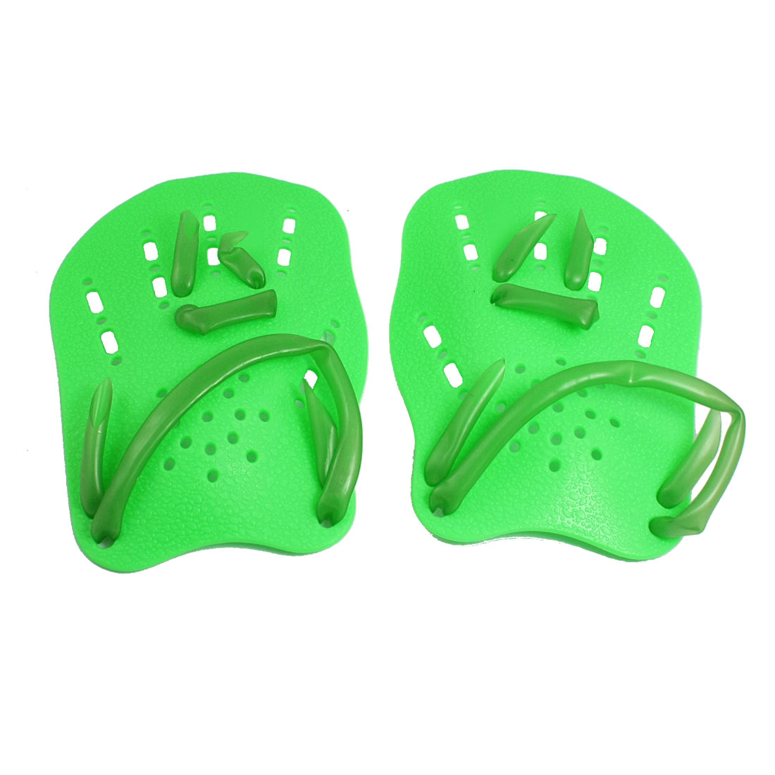 Pair Green Adjustable Tubing Strap Swimming Webbed Gloves