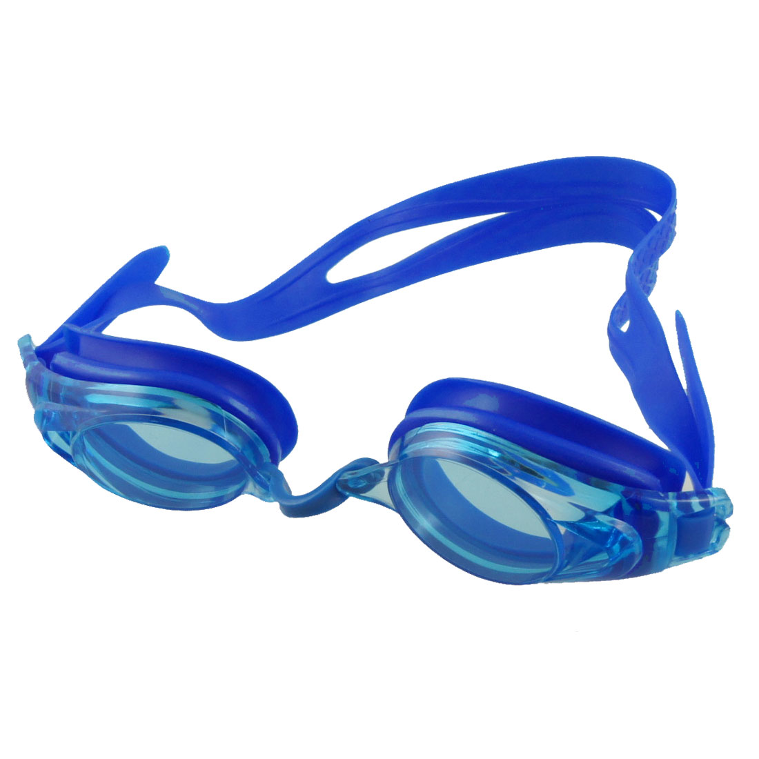 Adult Waterproof Swimming Plastic Frame Stretchy Elastic Strap Goggles Blue