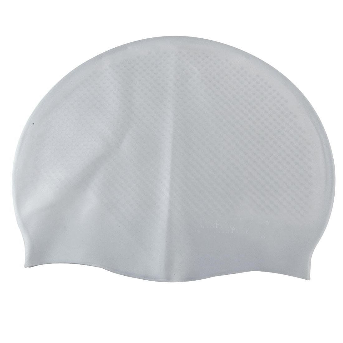 Gray Soft Silicone Inside Grains Design Swimming Cap for Adult
