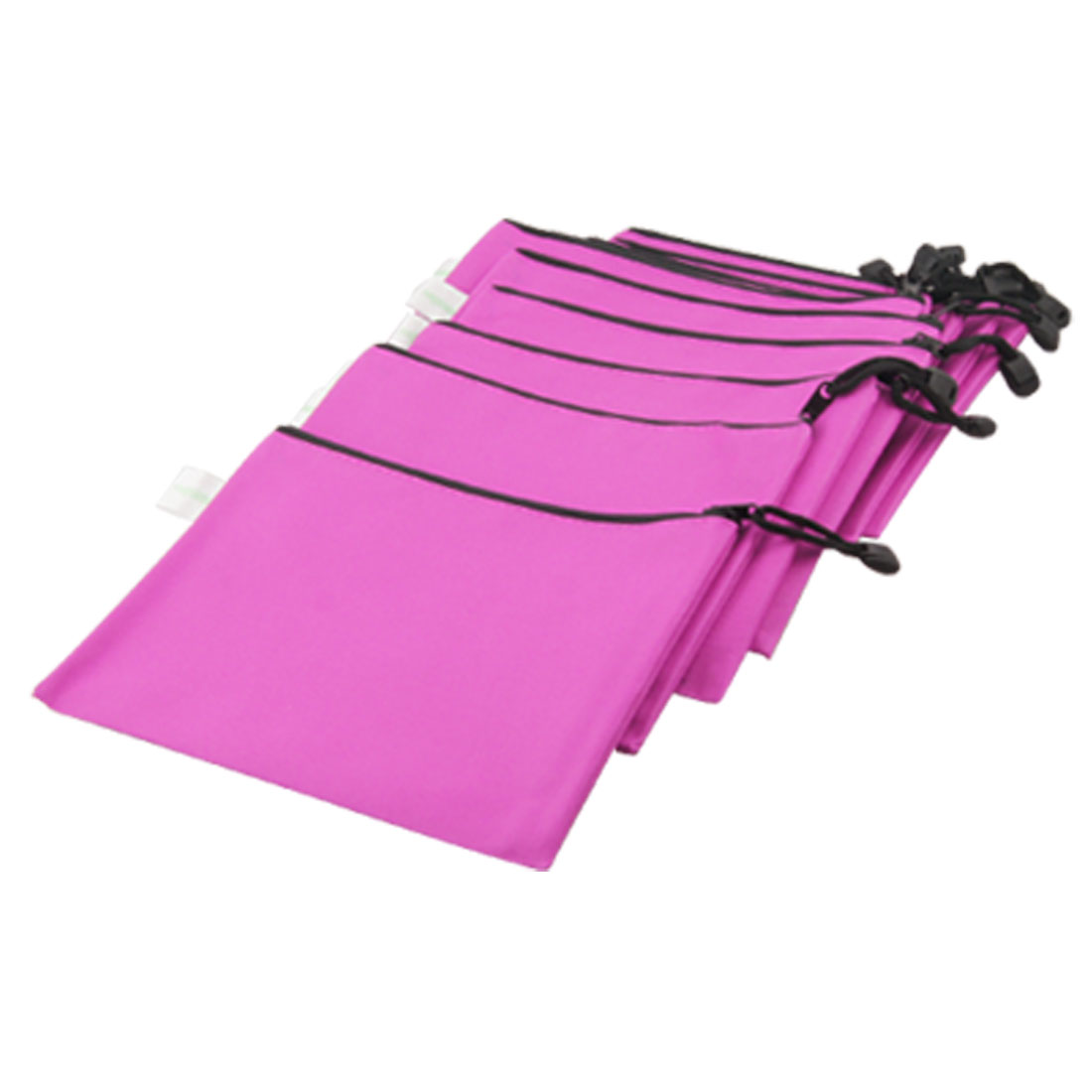 12 Pcs Fuchsia Nylon A5 Note Paper Zippered Bags w Hand Strap