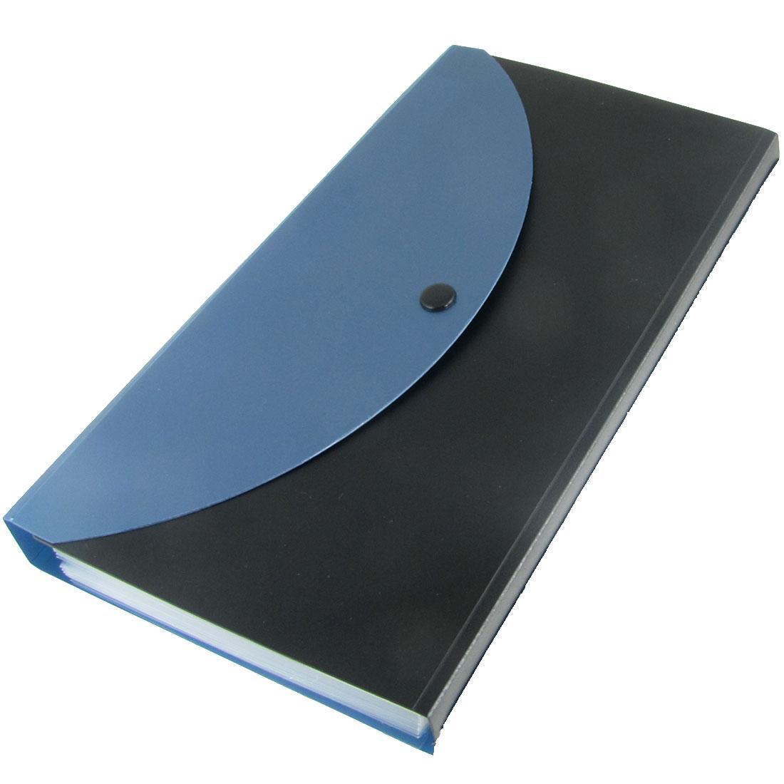 13 Compartments Plastic Blue Black Rectangle Cover Button Closure Letters Stickers File Folder