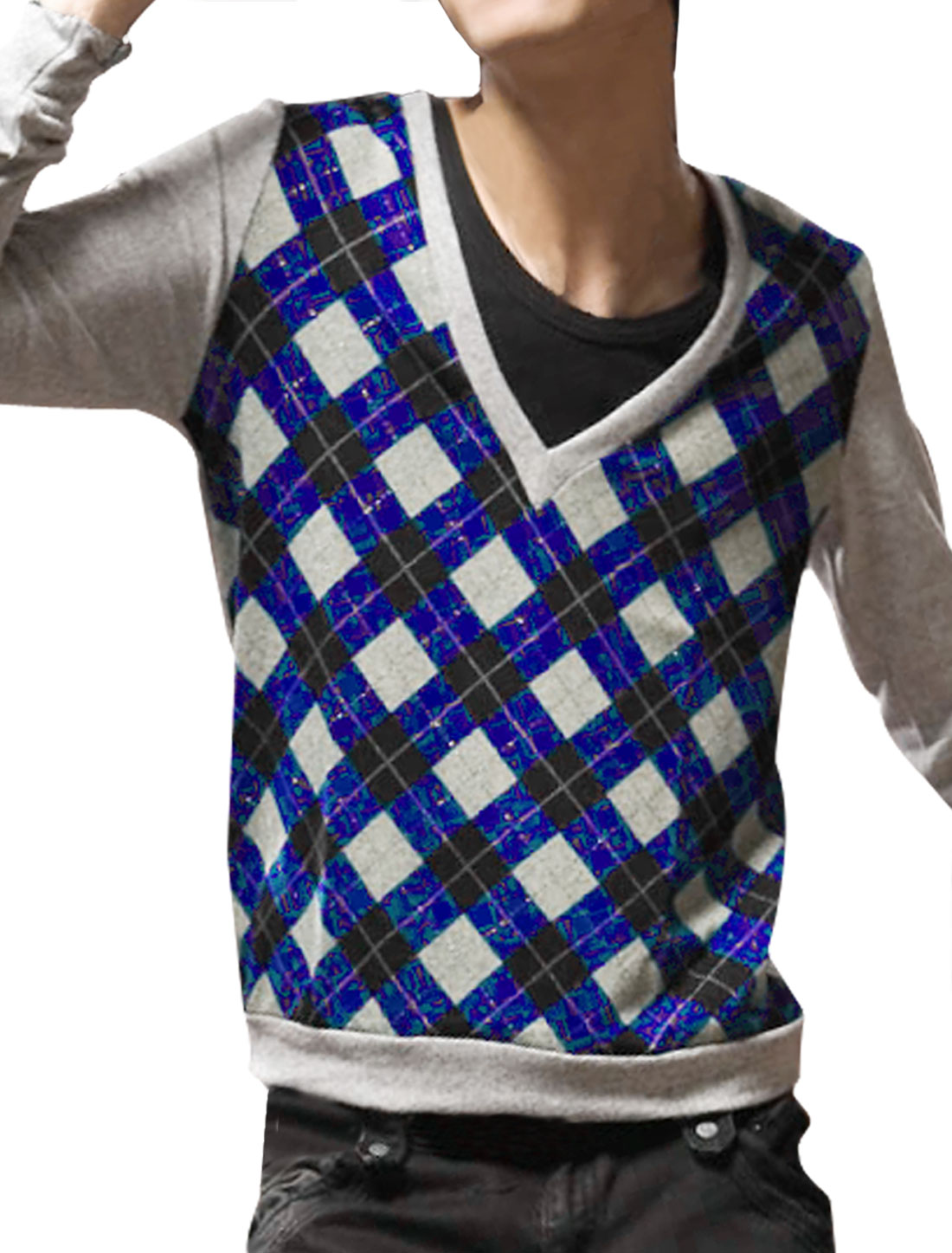 NEW Stylish Mens V-neck Knit Argyle Casual Sweater Shirt Blue XS