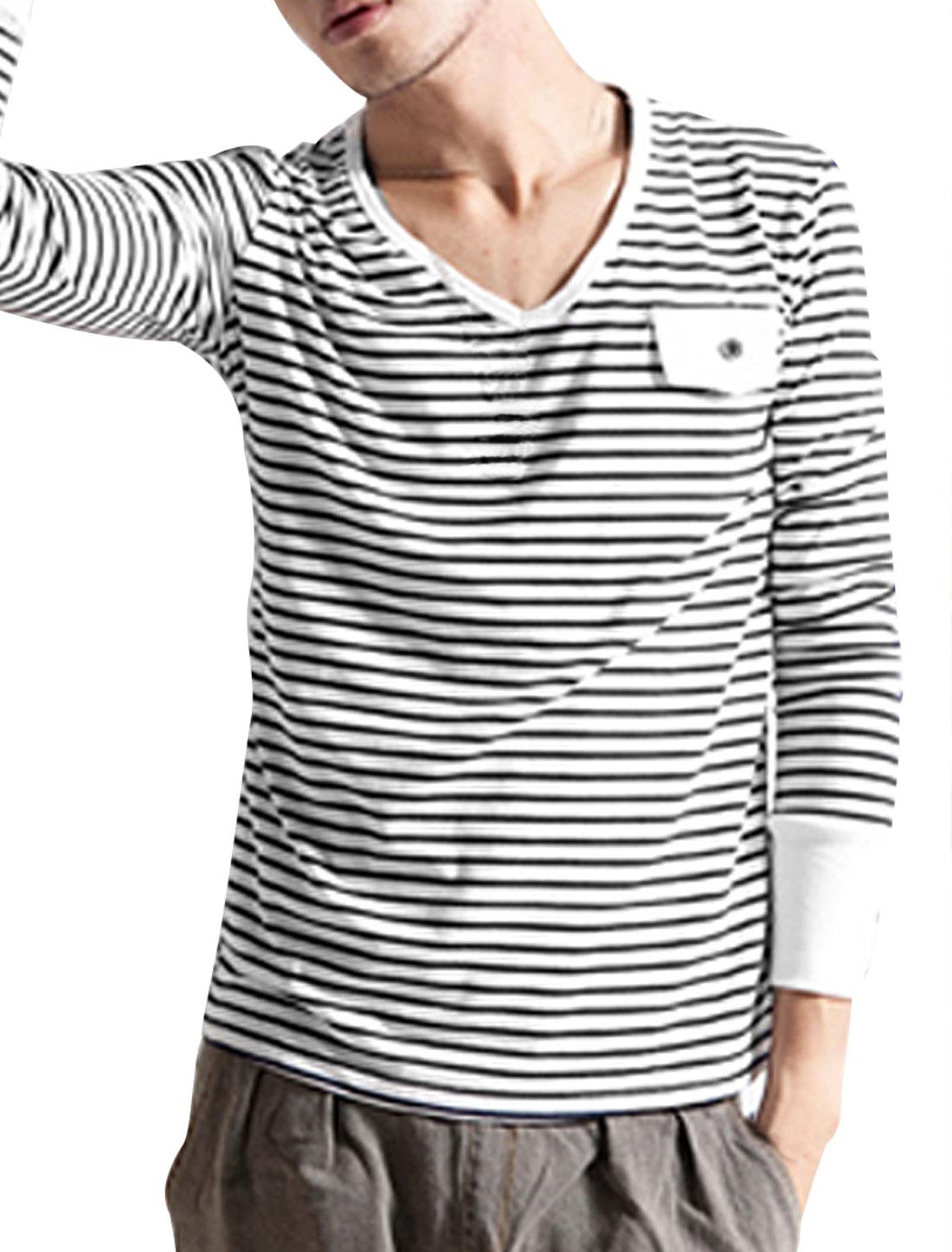 Mens Stylish Stripe Sailor V Neck Casual T-Shirt Shirt Black White S