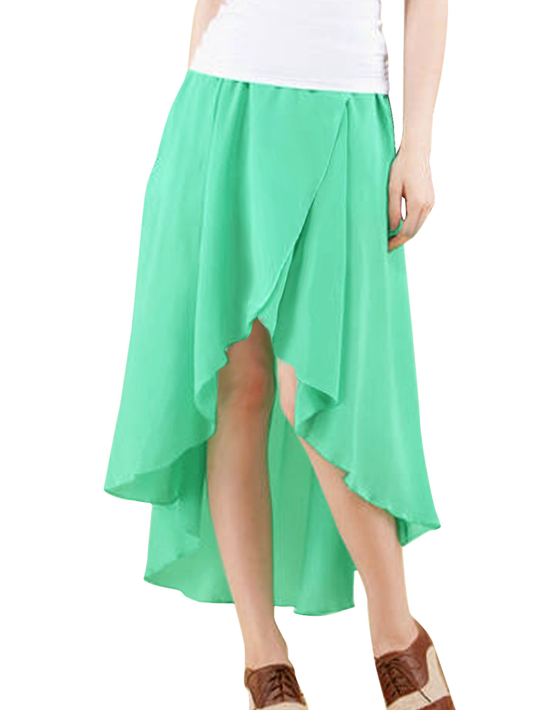 Women Mint Asymmetrical High Low Hem Elastic Waistband Skirt XS