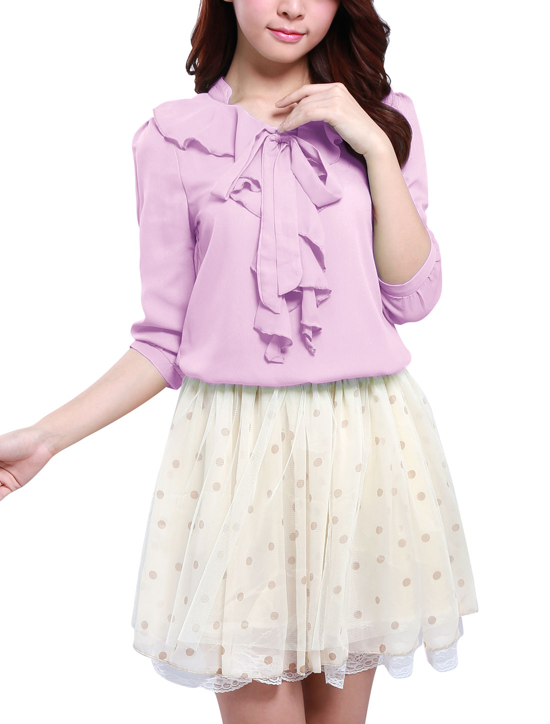 Lady Pale Purple Stand Colalr Flouncing Self Tie Front Blouse XS