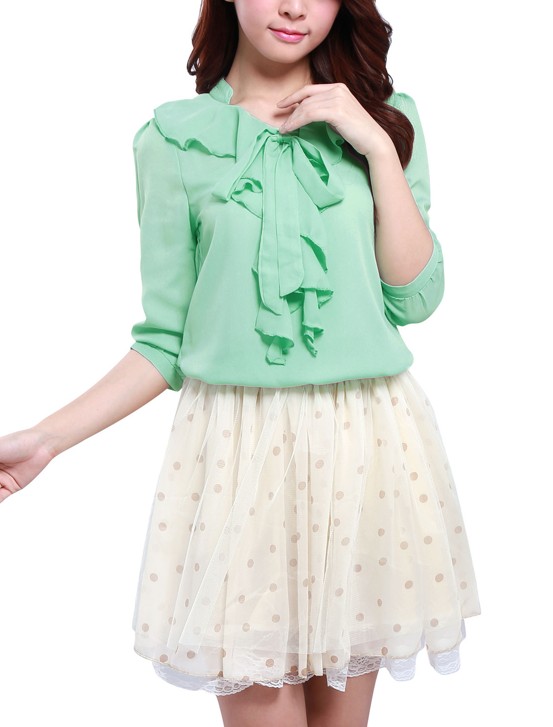 Ladies 3/4 Sleeves Flounced Standing Collar Blouse Green XS