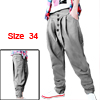 Mens Stylish Casual Hip-hop Trousers Tapered Baggy Pants Gray W34