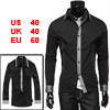 Men Slim Fit Black Long Sleeve Point Collar Casual Shirt M