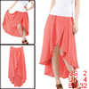 Women Watermelon Red Asymmetrical High Low Hem Elastic Waistband Skirt XS